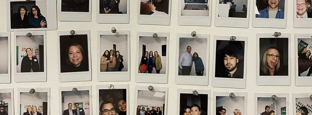 Polaroid images of Saxum team members