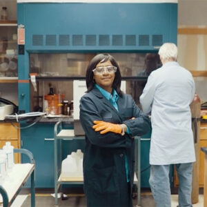 Woman in lab gear