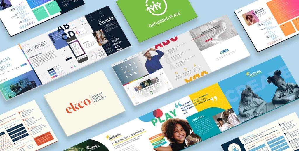 Business cards showing brand identity elements of different brands