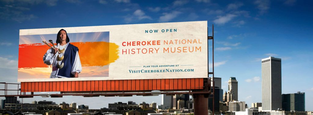 Billboard by a Tulsa skyline